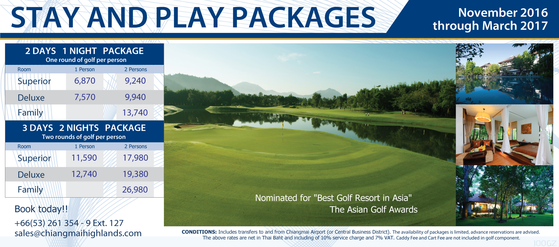 Stay play packages chiangmai highlands golf and spa resort for Spa resort vacation packages